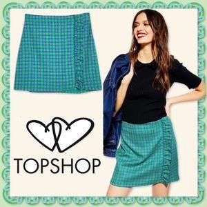 🆕 TOPSHOP Tartan Green Blue Plaid Ruffle Skirt. NWT